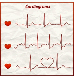 Set of cardiograms vector
