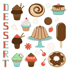 Desserts collection vector
