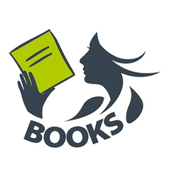Logo girl reading a book vector