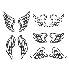 Set of wings tattoo vector