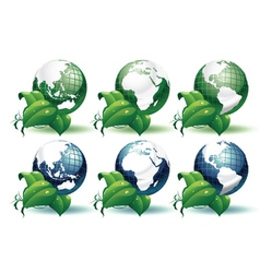 Planet earth with leaves different views vector
