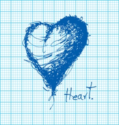 Drawing of heart on graph paper vector