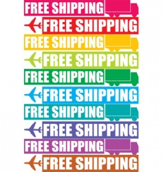 Colorful free shipping tag vector