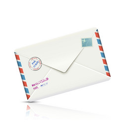 Old-fashioned airmail realistic paper envelope vector