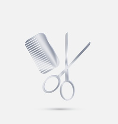 Comb and scissors barbershop vector