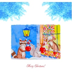 Card christmas eve with raccoon squirrel and dog vector