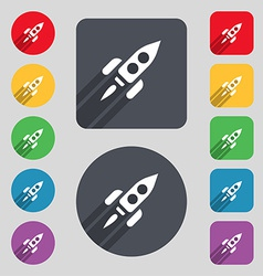 Rocket icon sign a set of 12 colored buttons and a vector
