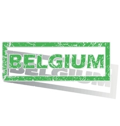 Green outlined belgium stamp vector