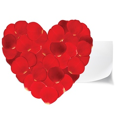 Heart of red petals and blank white paper vector