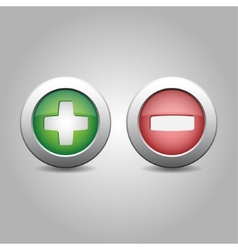 Plus and minus in green and red colours vector