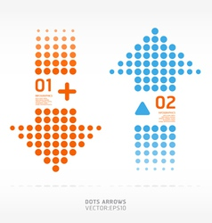Dots arrows orange and blue color vector