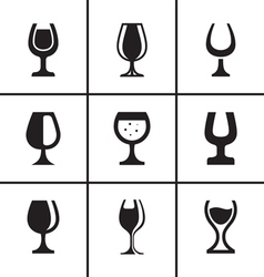 Wineglass icons set vector