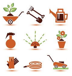 Garden tools icons set vector