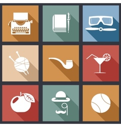 Retro flat design hipster detective icons and vector