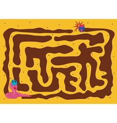 Worm maze cartoon vector