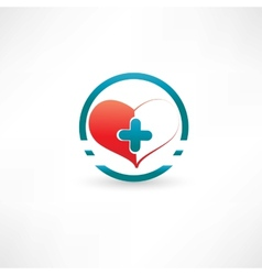 Heart and medical cross inside the circle vector
