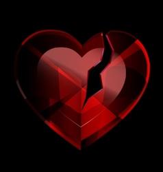 Broken heart-crystal vector