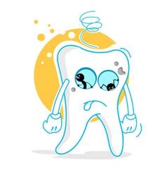 Sad teeth vector