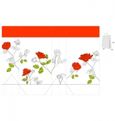 Gift bag with red roses vector