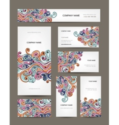 Business cards collection abstract waves design vector