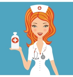Beautiful doctor holding medicine vector