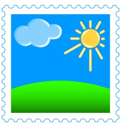 Sun and clouds on stamp vector