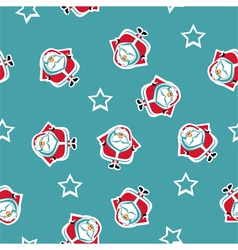 Seamless pattern with santa and stars vector