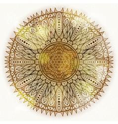 Grunge hand drawn circular floral ornament vector