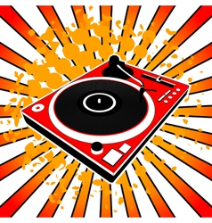 Red dj turntable vector