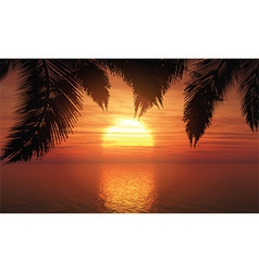 Palm trees against sunset sky 1305 vector