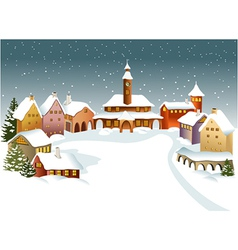 Winter town vector