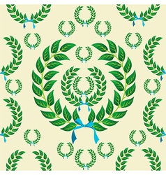 Seamless laurel wreath pattern vector
