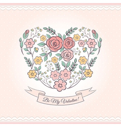 Floral graphic with heart vector