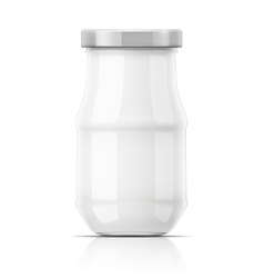 Empty glass jar with cap vector