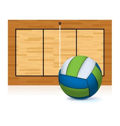 Volleyball and volleyball court isolated on white vector