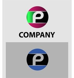 Letter p logo icons set graphic design vector