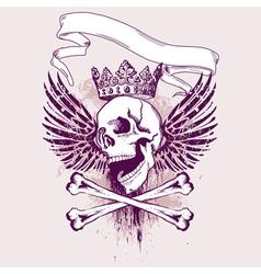 Grunge skull apparel design vector
