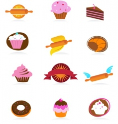 Food and kitchen icons bakery series vector