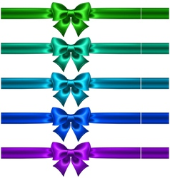 Festive bows in cool colors with ribbons vector