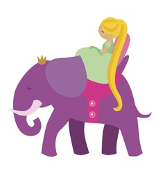 Princess and elephant vector