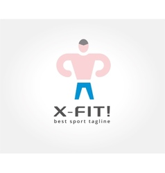 Abstract fitness man logo icon concept logotype vector