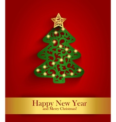 New year greeting card with silhouette of vector
