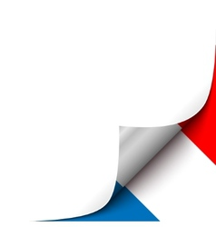 Curled up paper corner on french flag background vector