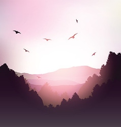Mountains and trees landscape vector