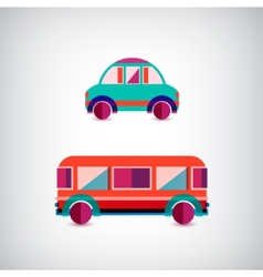 Set of transport - car and bus vector