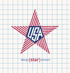 Hand draw star with american flag colors abstract vector