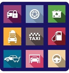 Collection of flat transport icons vector