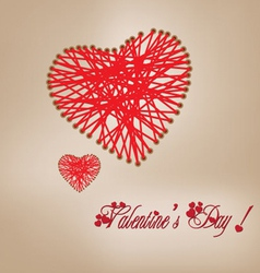 Valentine day knitting wool heart vector