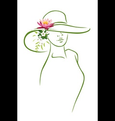 Woman with hat vector