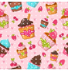 Muffin seamless pattern cupcake background hand vector